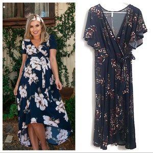 Navy Blue Floral Hi-Low Maternity Wrap Dress 1X
